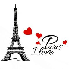 Decor MI Wall Decal Stickers for Living Room Bedroom Wall Art Decoration Romance Eiffel Tower Paris Tower Kids Educational Puzzles Animal World Map - I Love Paris