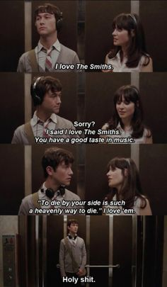 To die by your side is a heavenly way to die. #500daysofsummer #thesmiths #movies