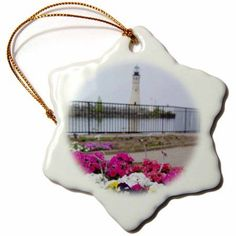 3dRose New York, Lake Erie, Buffalo Lighthouse - US33 CMI0135 - Cindy Miller Hopkins, Snowflake Ornament, Porcelain, 3-inch