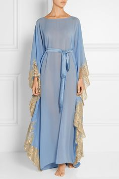 Rosamosario | Turks and Caicos lace-trimmed silk-georgette kaftan | NET-A-PORTER.COM