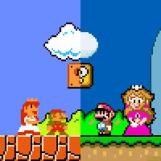 Marios and Peaches by Brother Brain ★  Super Mario Bros. (NES) Nintendo 1985. Super Mario World (SNES) Nintendo 1990.