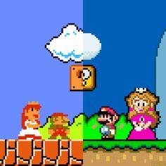 Marios and PeachesbyBrother Brain★Super Mario Bros. (NES) Nintendo 1985. Super Mario World (SNES) Nintendo 1990.