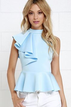 It's incredible how unforgettable you will be in the Forever More Light Blue Peplum Top! Poly-spandex, medium-weight knit hugs your silhouette from a mock neck, through a sleeveless bodice decorated with a cascading side ruffle. A peplum tier flares from Trendy Tops, Casual Tops, Mode Top, Elegantes Outfit, Beautiful Blouses, Mode Style, Look Fashion, Dress Patterns, Blouse Designs