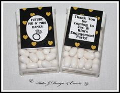 Tic Tac Labels #Gold #Glitter #Black #Hearts #Engagement #Party #Colour #Schemes #Bunting #Party #Decorations #Ideas #Banners #Cupcakes #WallDisplay #PopTop #JuiceLabels #PartyBags #Invites #KatieJDesignAndEvents #Personalised #Creative