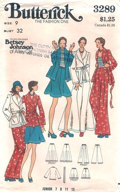 Butterick 3289; ca. early to mid 1970s; Young Designer Betsey Johnson of Alley Cat - Junior Jacket, Skirt & Pants. Loose-fitting, unlined wrapped jacket has shawl collar, full length slightly belled sleeves, patch pockets, belt loops, and self tie belt. Four gore flared skirt has buttoned waistband and back zipper closing. Full, slightly flared pants darted into buttoned waistband have front stitched down pleats and back zipper closing.