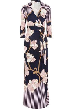 Diane von Furstenberg - floor length DVF wrap dress: big floral print with stripe detailing on collar and shoulders. Maxi Wrap Dress, Buy Dress, Dress Up, Love Fashion, Fashion Outfits, Fashion 2014, Mode Editorials, Maxi Styles, Date Outfits