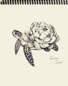 Tattoo, sketch , flowers ,turtle , by Emma Small #EmmaSmall More