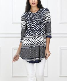 Love this Navy & White Dotted Lines Notch Neck Tunic - Women on #zulily! #zulilyfinds