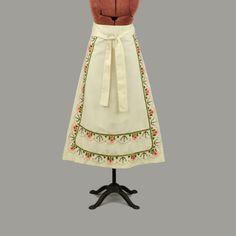Vintage 70s Cream Cotton High Waist Garden Floral Embroidered Hippie Wrap Skirt  #Unbranded