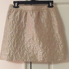 Ann Taylor Loft Petite Shimmery Cream Skirt OFFERS WELCOME! Beautiful skirt in shimmery cream and silver pattern. Very subtle. Has a back zipper and hook. Size 4 Petite. Lower thigh length. Worn maybe 3-4 times and in Like New condition. Super cute for school or work. Great with bare legs or leggings. Such a fun skirt! Ann Taylor Skirts Midi