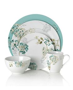 Mikasa Dinnerware, Teal Silk Floral Collection - Casual Dinnerware - Dining & Entertaining - Macy's