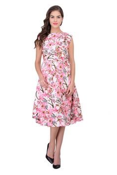 017 Pink  floral print  belted dress  Brand   NishTag Color : Pink Material : Crepe Length (inches) :40 Print & pattern : Florals Length : Knee length Lining material : Polyester Sleeve type : Puff sleeves Neck : Round Type :  Belted Product details : A unique product from nishtag's. Made with the finest imported crepe which is very soft and feels great in summer. Casual wear dress, Formal wear dress, Party wear dress