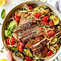 This Lemon Chicken Pasta is a MUST MAKE recipe! It's bursting with tender, juicy lemon basil chicken and garlic roasted vegetables tossed with lemon linguine, Parmesan, fresh herbs and garlic infused olive oil. Chicken Basil Pasta, Lemon Basil Chicken, Garlic Chicken, Keto Chicken, Rotisserie Chicken, Healthy Chicken, Grilled Chicken, Baked Chicken, Garlic Roasted Vegetables