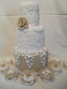 Gorgeous! ~ Lace Wild Rose Wedding Cake  ~ all edible