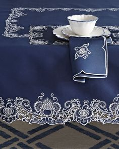 Shop tabletop accessories at Horchow. Renew your kitchen table set up with these beautiful plate sets and flatware silverware. Cutwork Embroidery, Embroidery Patterns, Machine Embroidery, Mantel Azul, Tabletop Accessories, Lace Making, Table Linens, Home Textile, Diy And Crafts