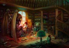 library tea party by WylfiArt.deviantart.com on @DeviantArt