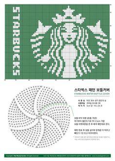 스타벅스 보틀커버 Starbucks Water Bottle Cover – My Weedy Garden Crochet Stitches Chart, Tapestry Crochet Patterns, Knitting Charts, Knitting Patterns, Beginner Knitting, Crochet Round, Filet Crochet, Diy Crochet, Crochet Crafts