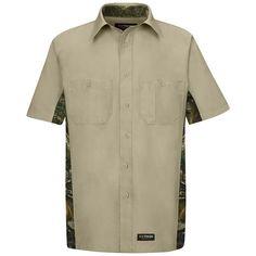 Men's Wrangler Workwear Short-Sleeve Camo Work Shirt, Size: