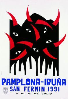 Cartel San Fermín 1991 | Diseños de carteles publicitarios de fiestas populares de España.