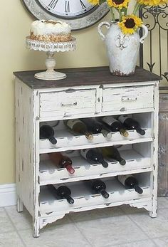 Look at this old dresser recycled to a wine rack!