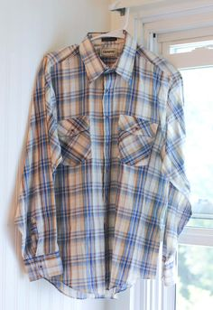 1970s Mens Plaid Rugged Country Western Shirt Vintage