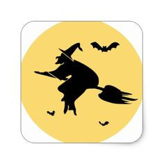 Flight of sorceress square sticker - Halloween happyhalloween festival party holiday