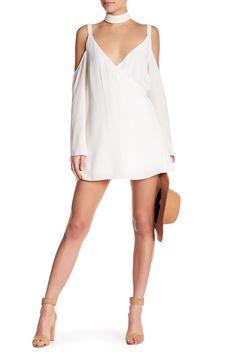 White for spring!  Lovers + Friends Surplice V-Neck Cold Shoulder Dress