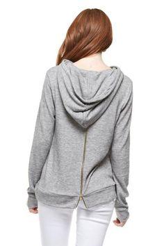 Grey Hoodie with Back Zipper