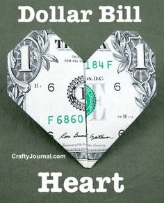 origami DIY Origami Dollar Heart- Tutorial- A fun way to give money as a gift! DIY Origami Dollar Heart- Tutorial- A fun way to give money as a gift! Even for Valentines! Useful Origami, Origami Easy, Origami Tooth, Origami Owl, Basic Origami, Origami Animals, Dollar Heart Origami, Money Origami Heart, Easy Dollar Bill Origami