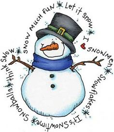 Snowman Snow Words Rubber Stamp  Chatterbox Gifts