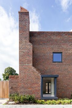 Tall brick chimney stacks and triangular gables characterise these London bungalows by Patel Taylor that are designed to house the area's retired residents Brick Cladding, Brickwork, Building Exterior, Brick Building, Brick Architecture, Architecture Details, Contemporary Architecture, Brick Detail, Social Housing