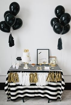 Black and White Party this year? I seem to be liking the sound of it. But could I really throw a party without gold? Maybe it'll be a black, white, and gold party. Gold Dessert Table, Candy Table, Gold Table, Dessert Party, Grad Parties, Birthday Parties, Party Ideas For Teen Girls, Black White Parties, Black Party