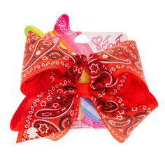 Official JoJo Siwa Large Red Bandana Print Signature Hair Bow Brand New Jojo Siwa Hair, Jojo Siwa Bows, Jojo Hair Bows, Jojo Bows, Red Bandana, Bandana Print, Jojo Siwa Birthday, Dance Moms Girls, Cheer Bows