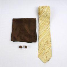 Butterscotch Swirl Marble Print Silk Tie Set