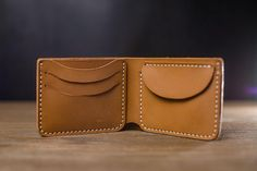 Handmade Minimalist Caramel Leather Wallet Hoik design, Coin purse, Unisex wallet, Pocket wallet