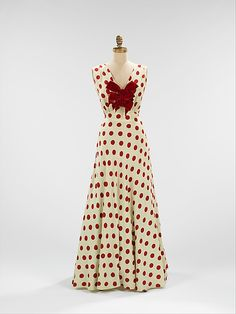 Polka dot silk evening dress from Bergdorf Goodman, ca. 1935