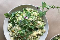 Couscous with Peas, Leeks, Haloumi, Pistachios & Fresh Herbs  recipe on Food52