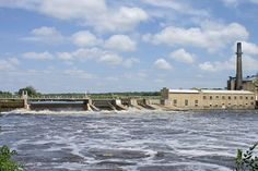 Sartell Dam across the Mississippi River; Sartell, Minnesota (also known as Champion Dam)