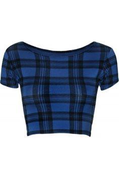 Erika Blue Tartan Cap Sleeve Crop Top-67227-20