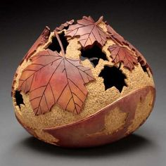gourd - carved maple leaves pattern - amazing work!
