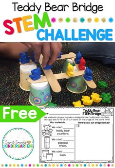 doing fun STEM activities with my students? This teddy bear bridge activity will be a hit with your class each year. It's very simple to set up, and you can do it over and over again once your students get the hang of it! It also promotes teamwork. Math Stem, Stem Science, Preschool Science, Stem Activities For Kindergarten, Kindergarten Projects, Classroom Activities, Science Experiments, E Learning, Learning Activities