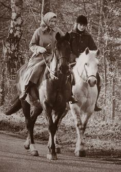 January 27, 1987: Princess Diana with Queen Elizabeth riding at Sandringham.