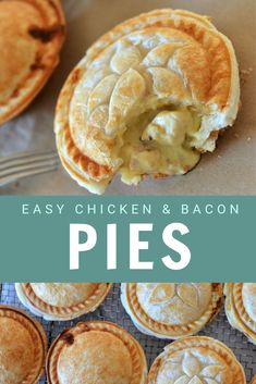 These hearty and delicious homemade chicken and bacon pies are a family favourite. Tender chicken and bacon in a creamy mustard sauce, all encased in crispy, flaky pastry. They are almost impossible to resist! Perfect for an easy family dinner.