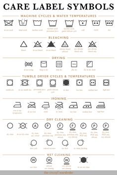 Care Label Symbols the concept wardrobe Fashion Terminology, Fashion Terms, Clothing Packaging, Clothing Labels, Sewing Basics, Sewing Hacks, Sewing Clothes, Diy Clothes, Laundry Symbols