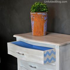 Stenciling on the side of drawer | Chevron Stencil by Royal Design Studio | Project by Debbie Hayes