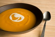 Sweet Potato–Star Anise Soup with Ginger Cream  --  Can substitute butternut squash, pumpkin, etc.  Surprisingly simple and stunningly good!