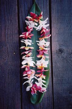 Plumeria Lei. these instead of a flower pin on those apart of the wedding