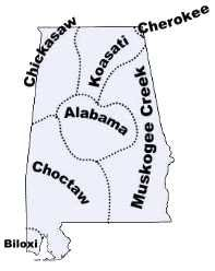 Map of Alabama tribes in the past