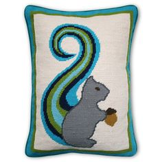 I have Jonathan Adler's (ring box) white bisque squirrel with his acorn, but this pillow makes me laugh!!