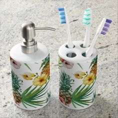 Tropical hawaii theme watercolor pineapple pattern soap dispenser & toothbrush holder